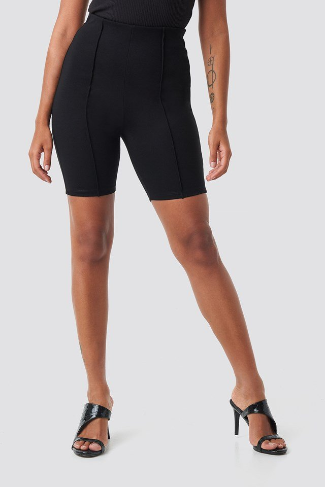Front Seam Cycle Shorts Black