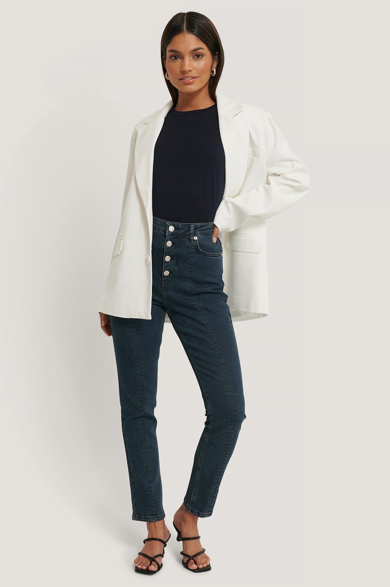 NA-KD Trend Front Seam High Waist Jeans - Blue