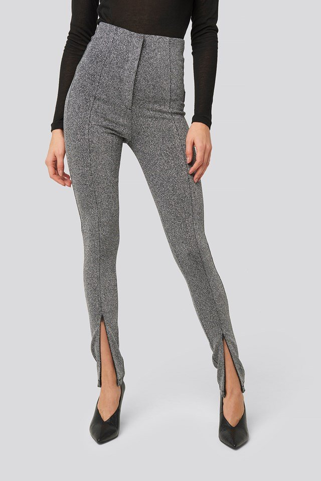 Front Seam High Waist Lurex Leggings Silver