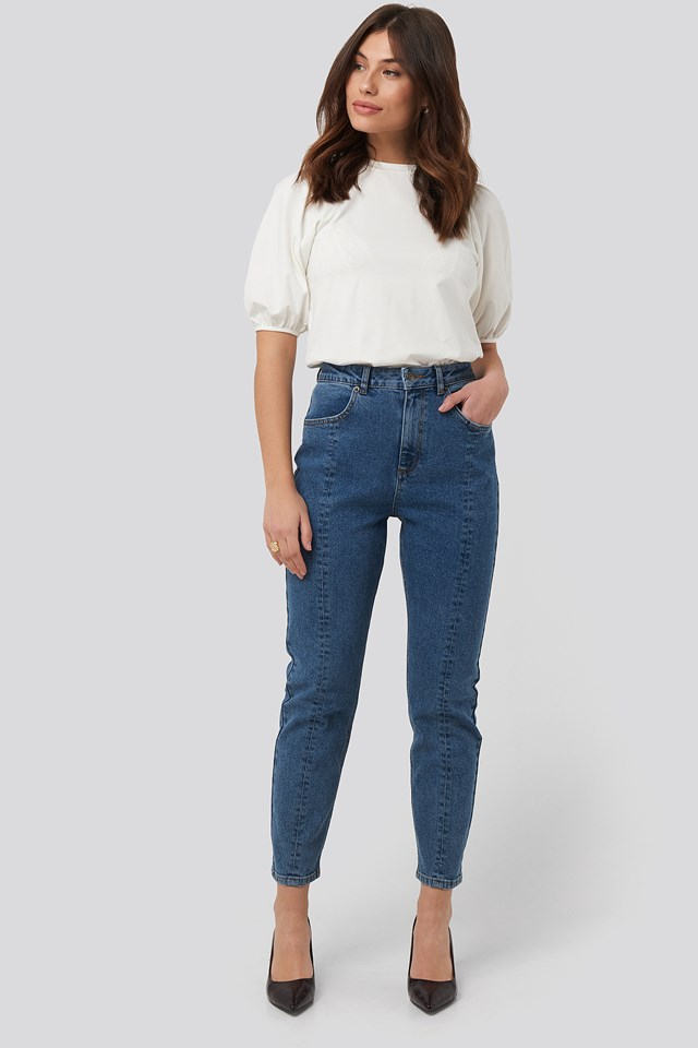 Front Seam Mom Jeans Mid Blue Wash