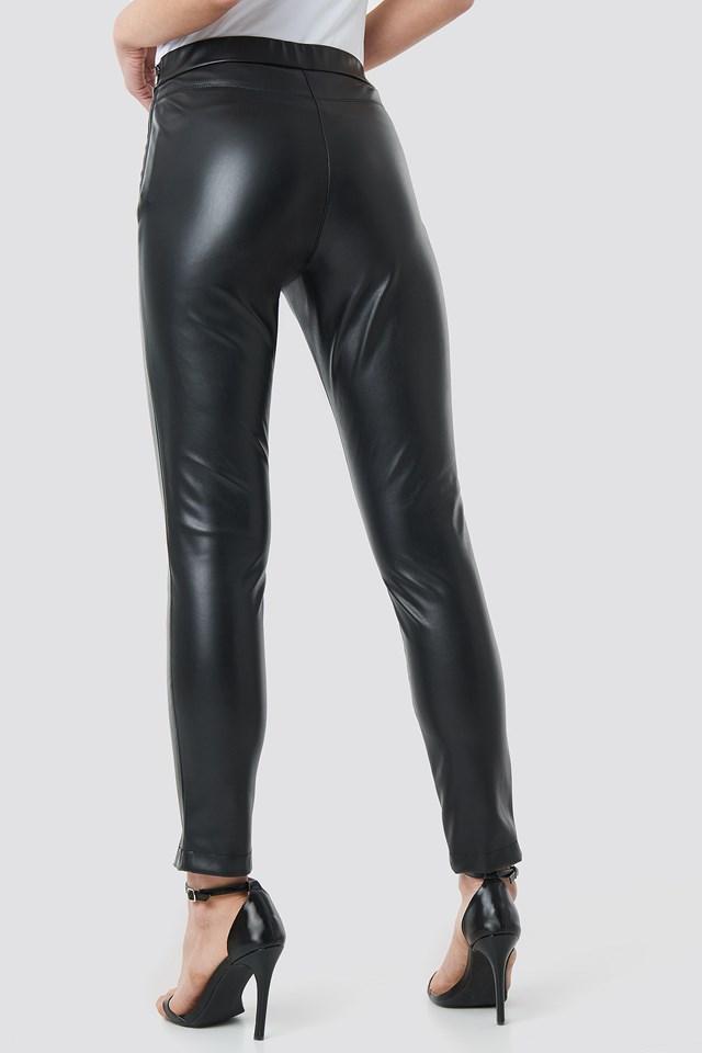 Front Seam Pu Pants Black