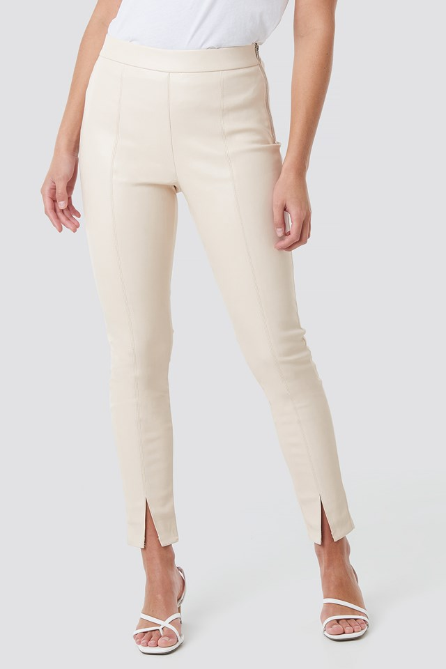 Front Seam Pu Pants Offwhite