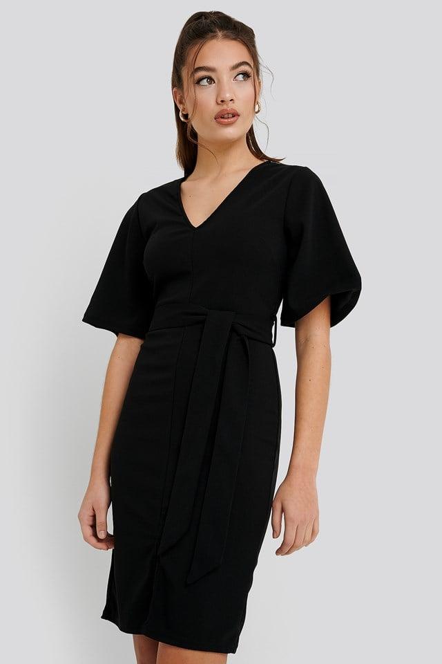 Front Slit Belted Dress Black