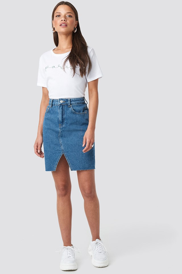 Front Slit Denim Skirt NA-KD