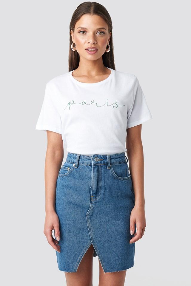 Front Slit Denim Skirt Mid Blue