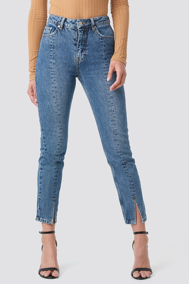 Front Slit Jeans Mid Blue