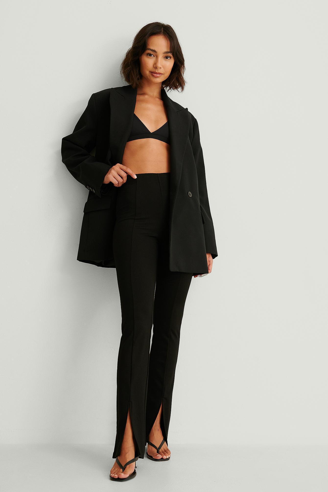 na-kd -  Front Slit Jersey Pants - Black
