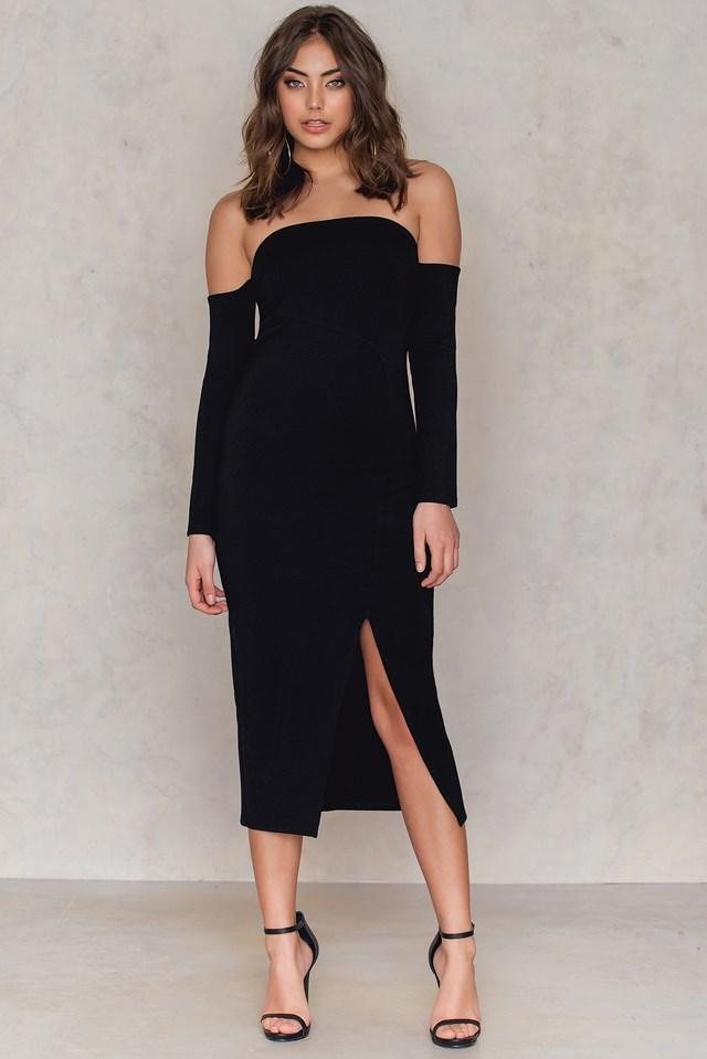 Front Slit Off Shoulder Dress Black