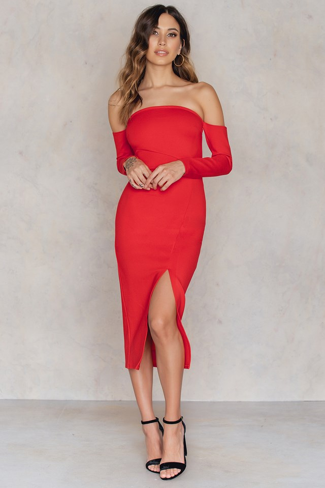 Front Slit Off Shoulder Dress Red