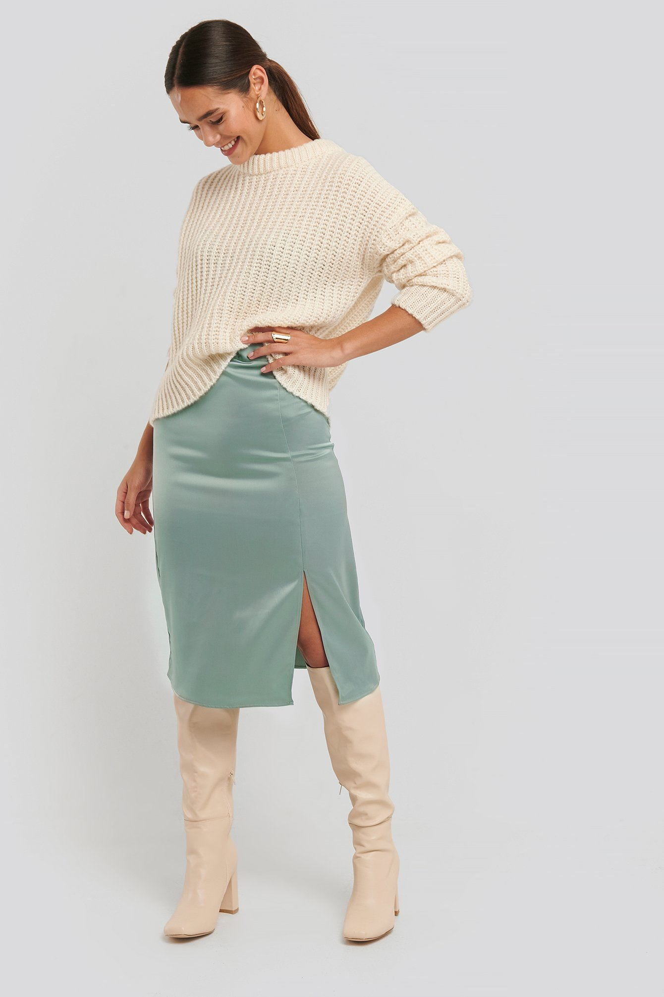 Dusty Petrol Front Slit Satin Skirt