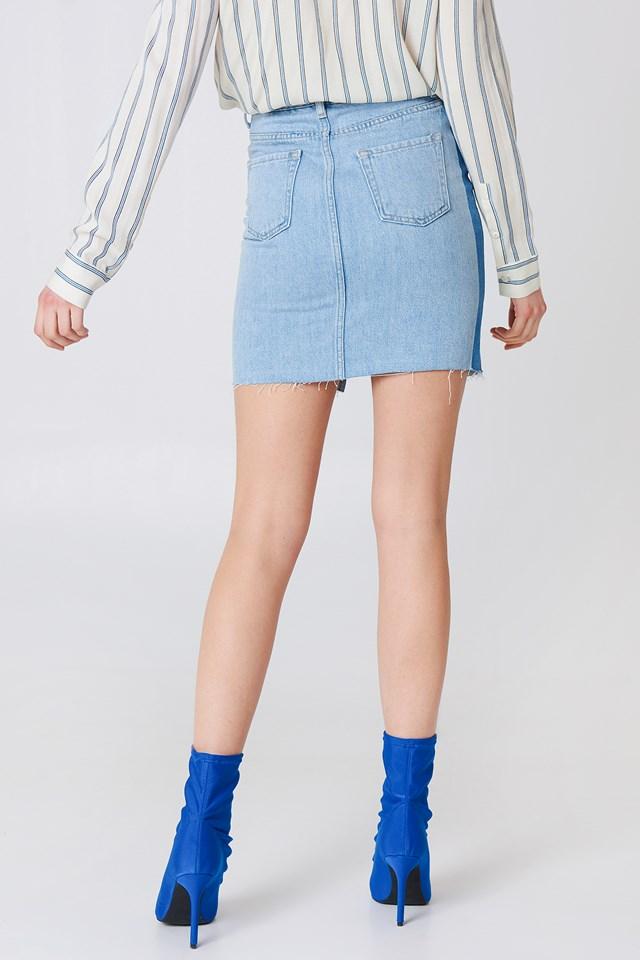Front Slit Side Panel Denim Skirt Light Blue