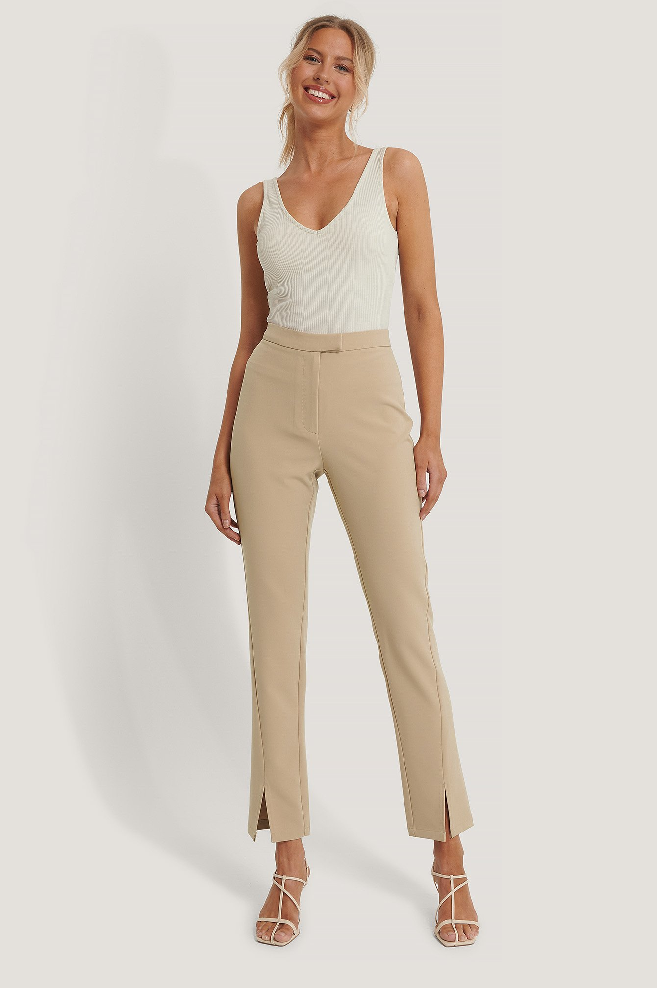 Beige Front Slit Suit Pants