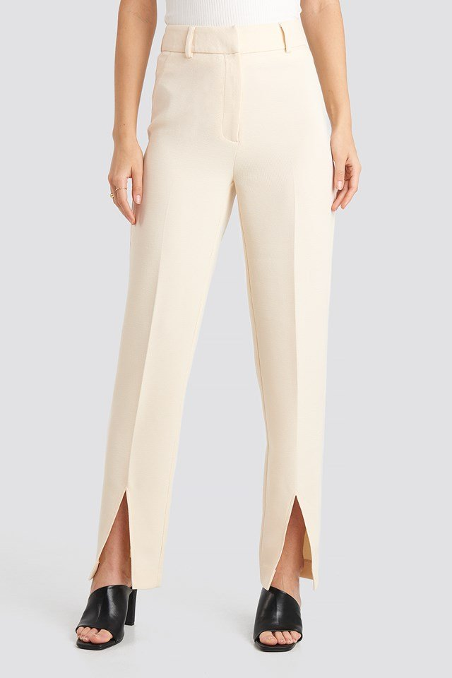 Front Slit Suit Trousers Cream