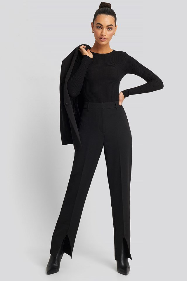 Front Slit Suit Trousers Black