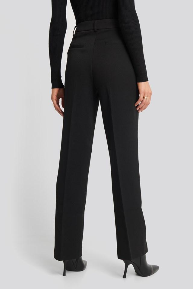 Front Slit Suit Trousers Black
