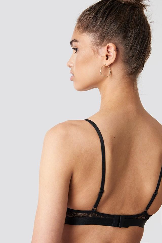 Front Strap Lace Bra Black
