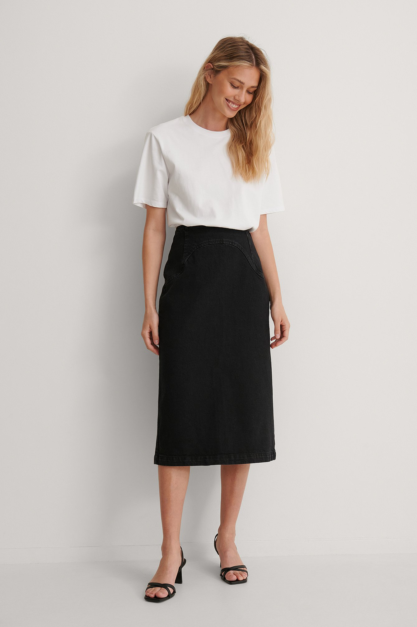 Washed Black Front Yoke Denim Midi Skirt