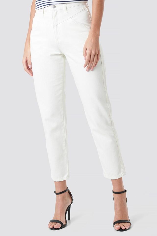 Front Yoke Jeans White