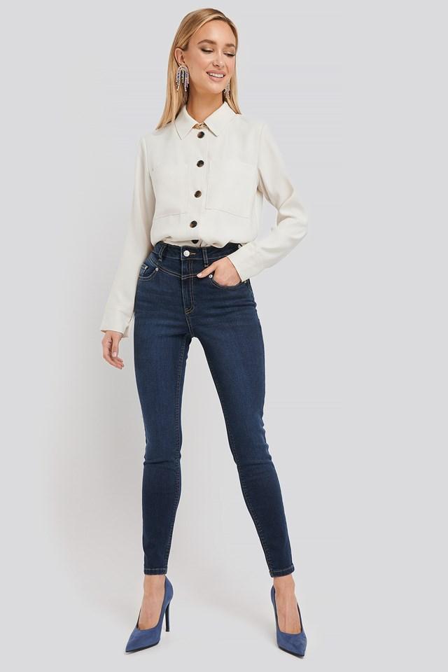 Front Yoke Skinny Jeans Dark Blue