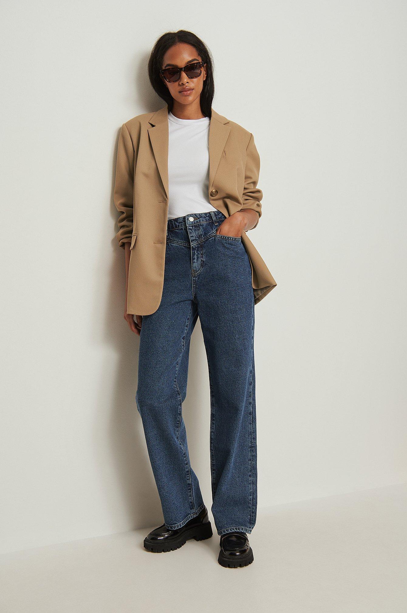 NA-KD Trend Økologiske jeans med vide ben og bærestykke foran - Blue
