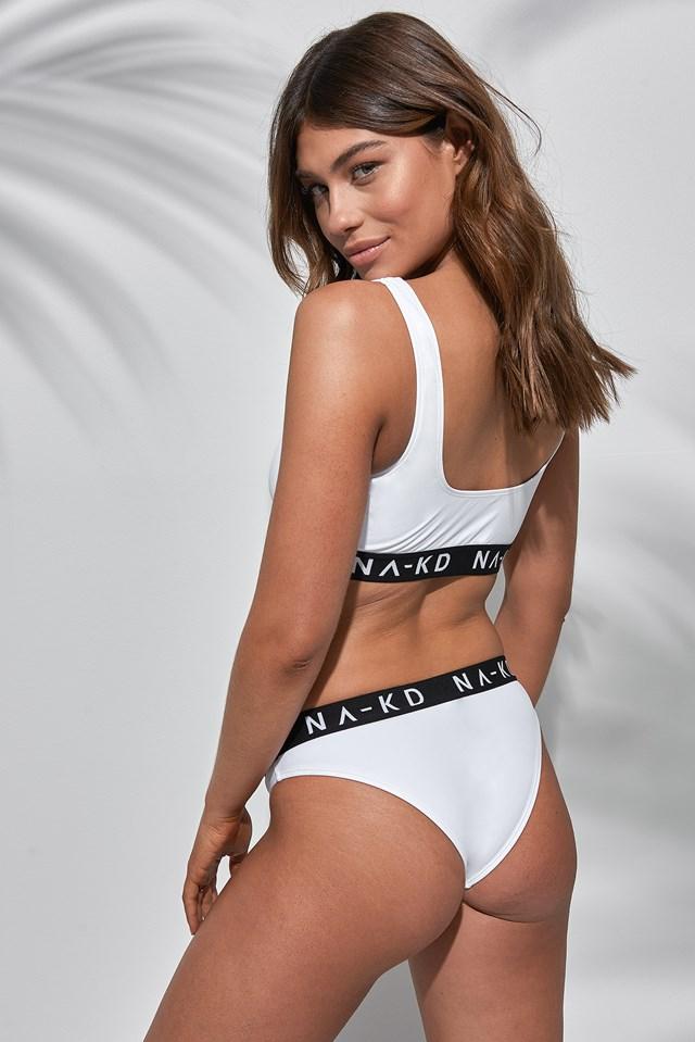 Front Zip Logo Bikini Top NA-KD.COM