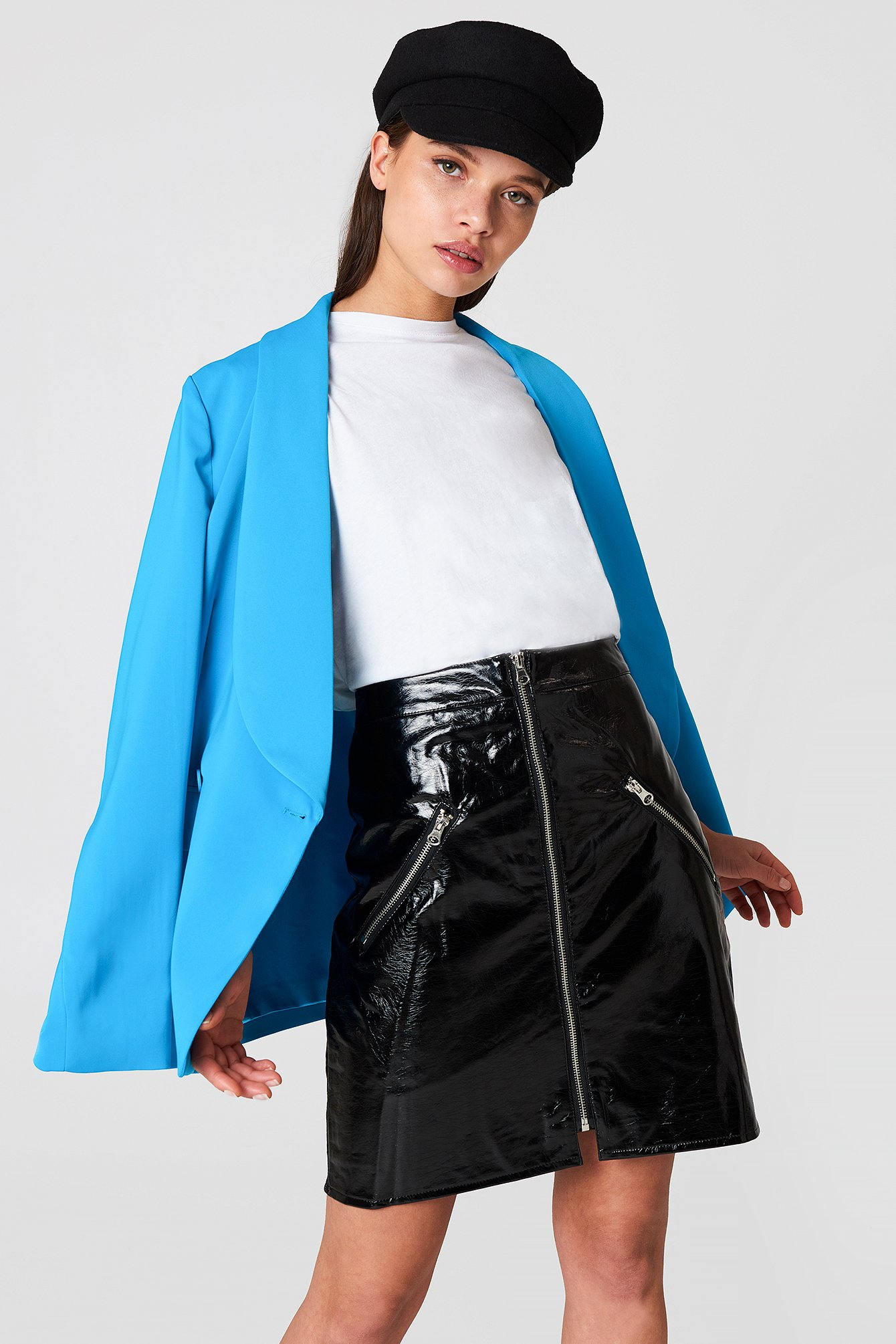 na-kd trend -  Front Zip Patent Skirt - Black