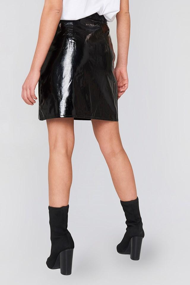 Front Zip Patent Skirt Black