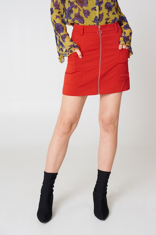 Front Zipped Mini Skirt Red