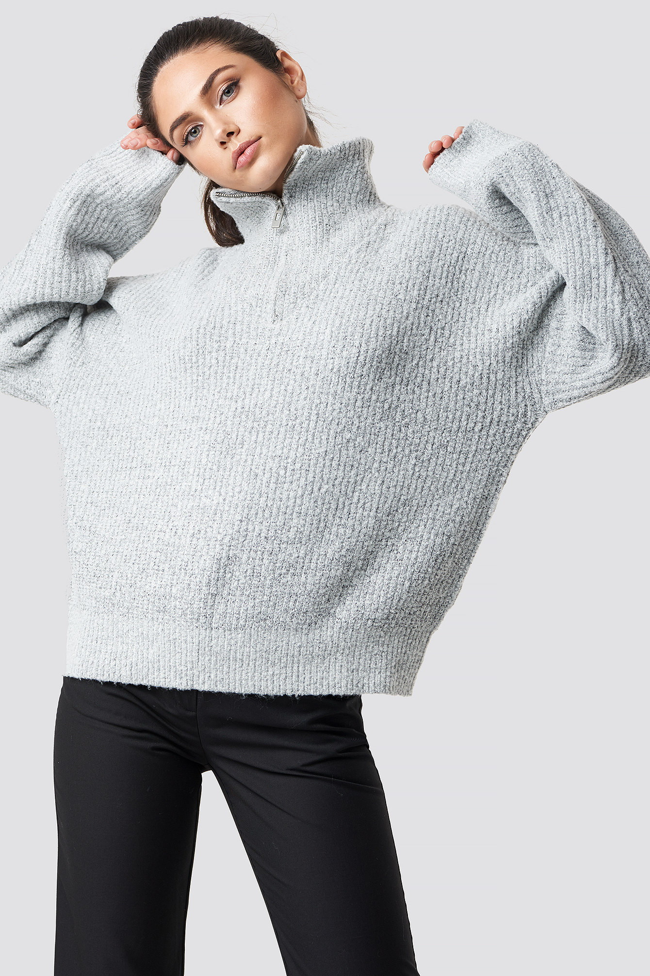 na-kd trend -  Front Zipper Knitted Sweater - Grey