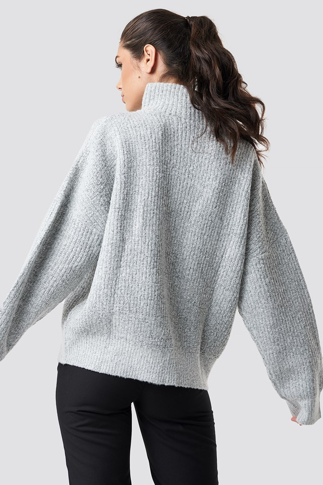 Front Zipper Knitted Sweater Grey