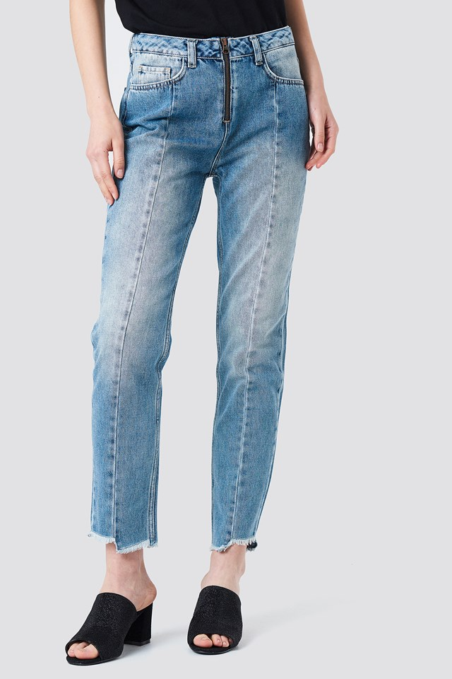 Front Zipper Panel Jeans Mid Blue