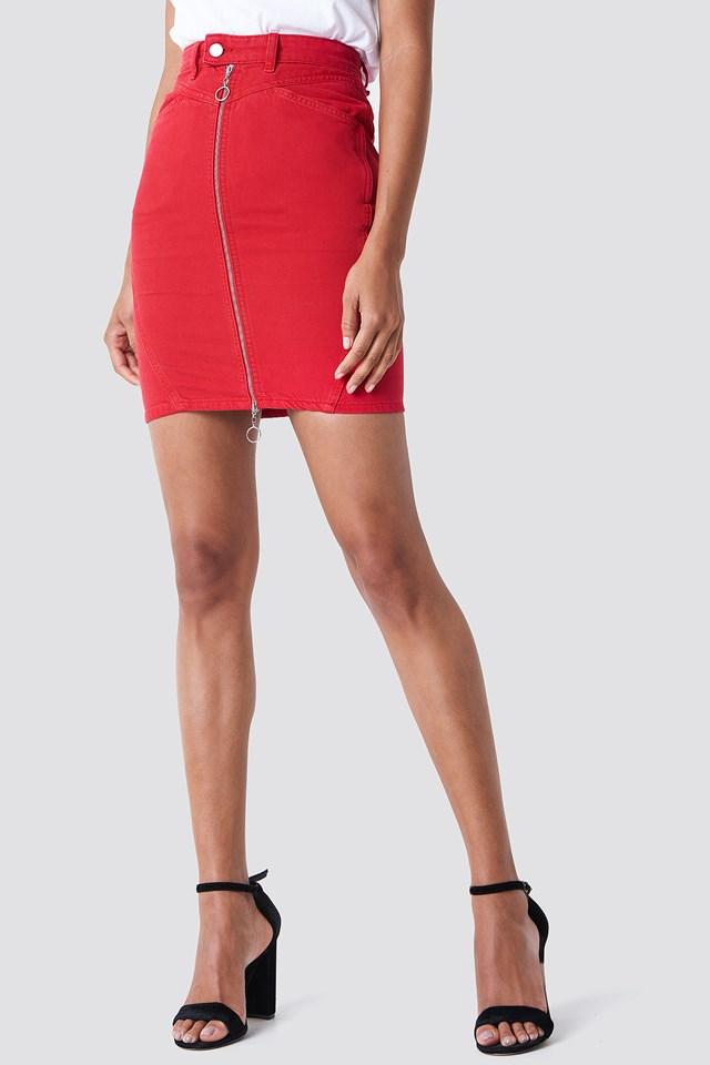 Front Zipper Pencil Denim Skirt Red