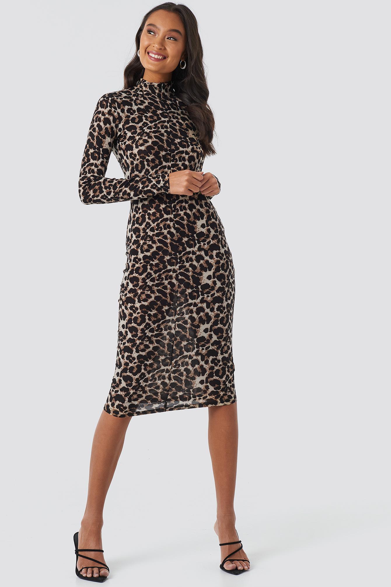 Front Zipper Skin Tight Jersey Dress NA-KD.COM