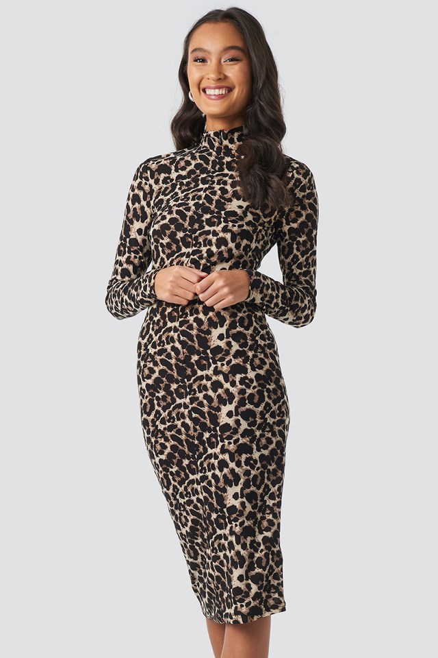 Front Zipper Skin Tight Jersey Dress Leoprint
