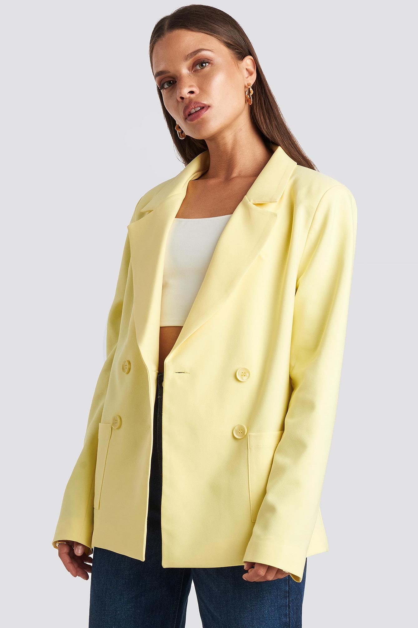 emilie briting x na-kd -  Front Pocket Oversized Blazer - Yellow
