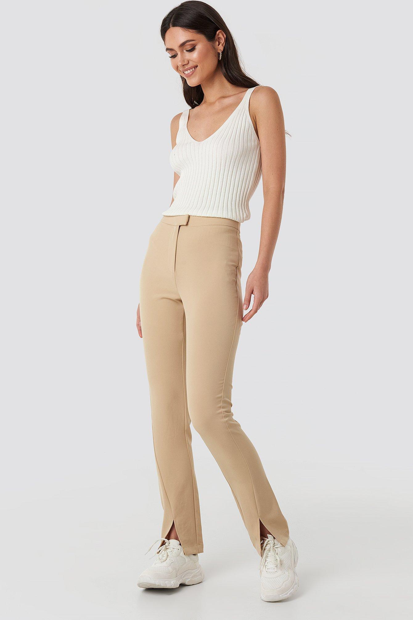 NA-KD Front Slit Suit Pants - Beige