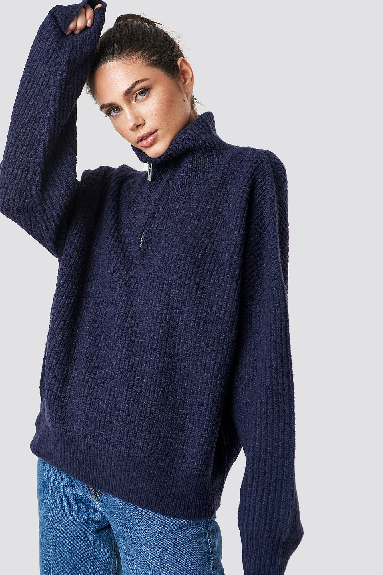na-kd trend -  Front Zipper Knitted Sweater - Blue,Navy