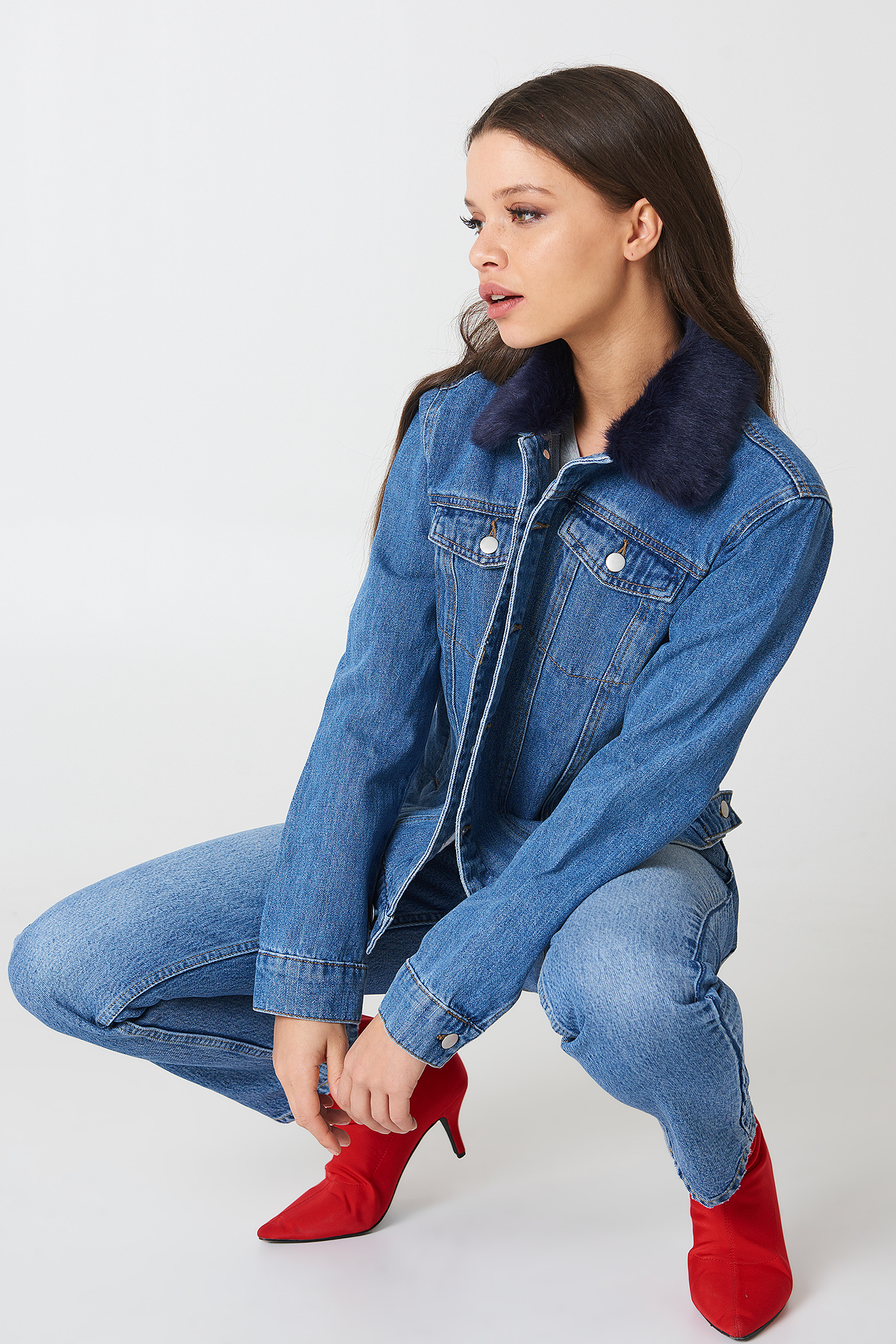 Fur Collar Denim Jacket NA-KD.COM