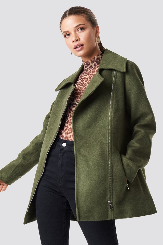 Furry Zipper Detail Jacket Trendyol