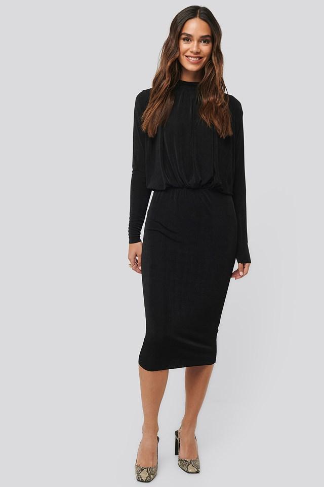 Gathered Waist Knit Dress Black