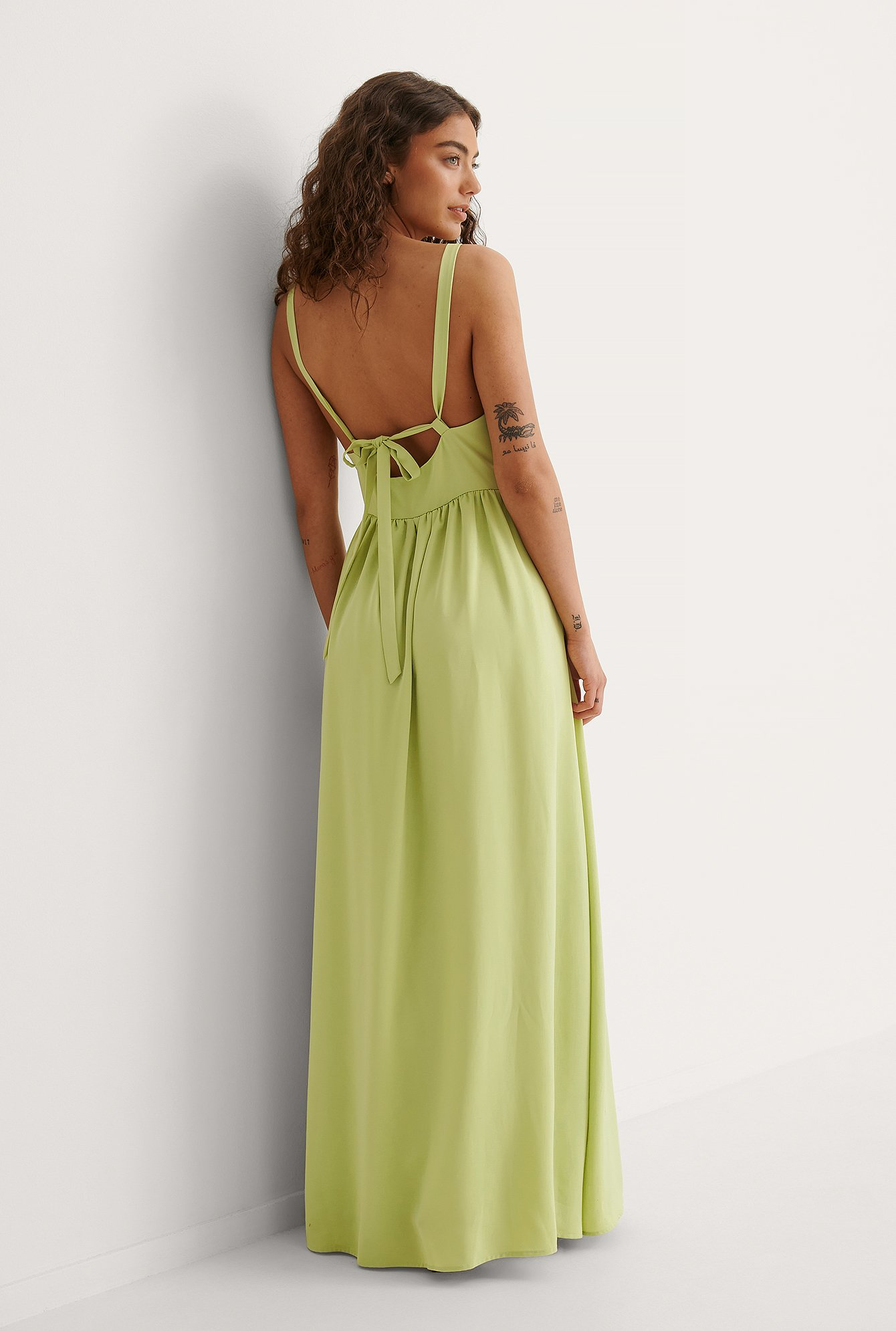 Dusty Green Gathered Chest Maxi Dress