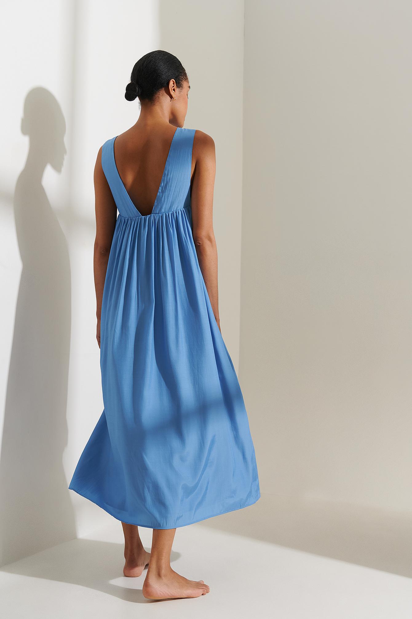 curated styles -  Recycelt Kleid Mit Tiefem Rücken - Blue