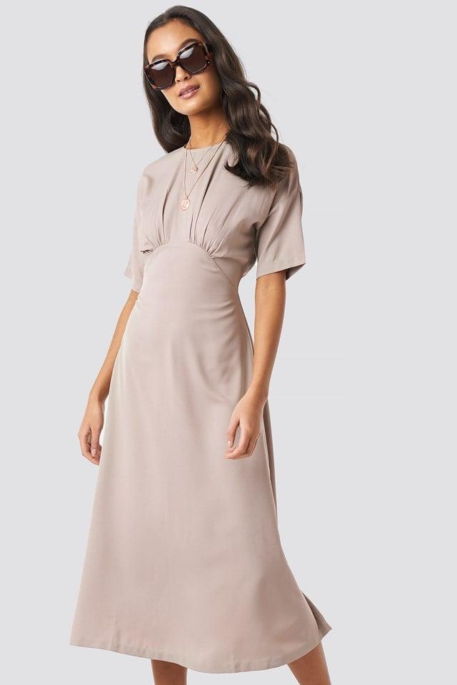 Gathered Detail Midi Dress Beige