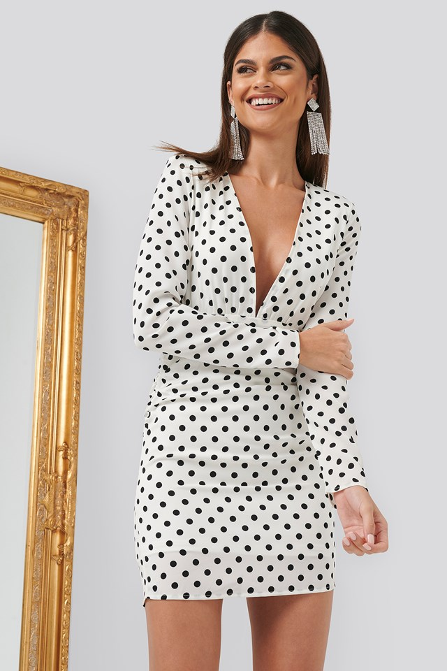 Gathered Dotted Dress White