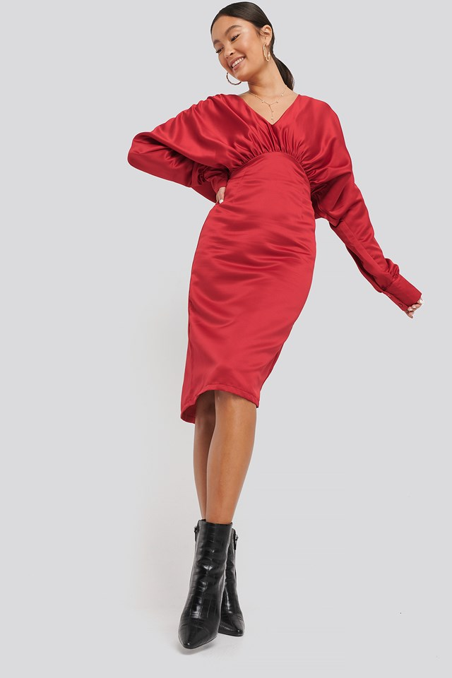 Gathered Dull Satin Dress Red