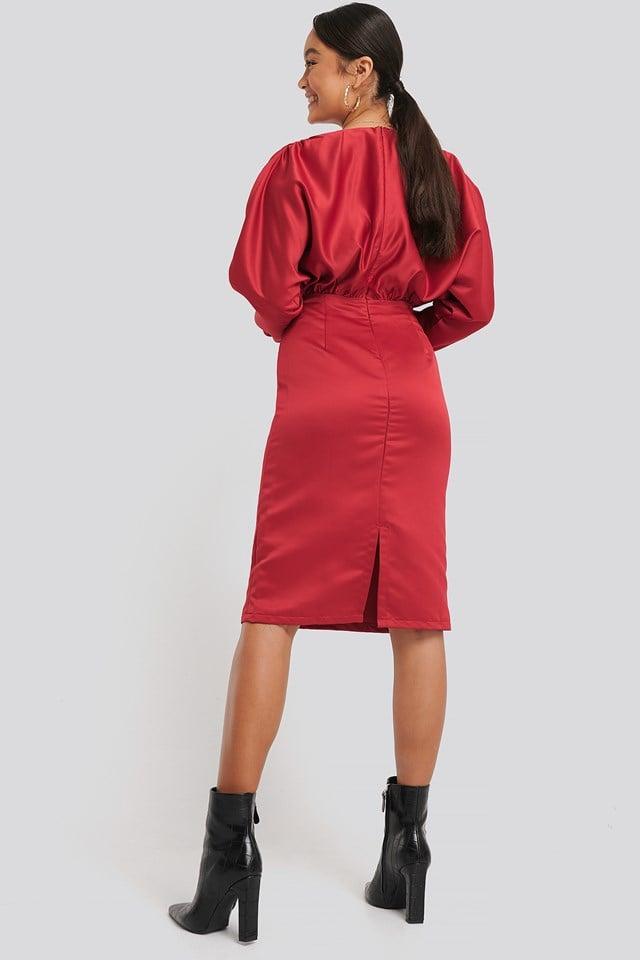Gathered Dull Satin Dress Red