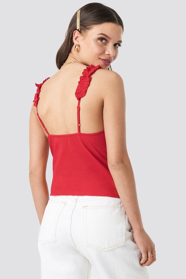Gathered Front Cotton Singlet Red