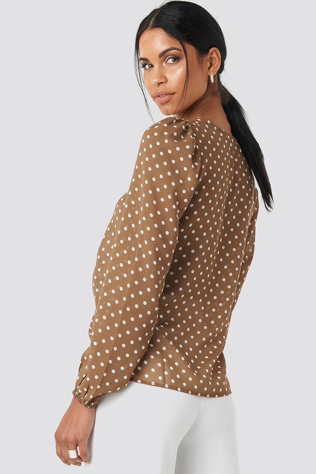 Gathered Front LS Blouse Beige/White Dots