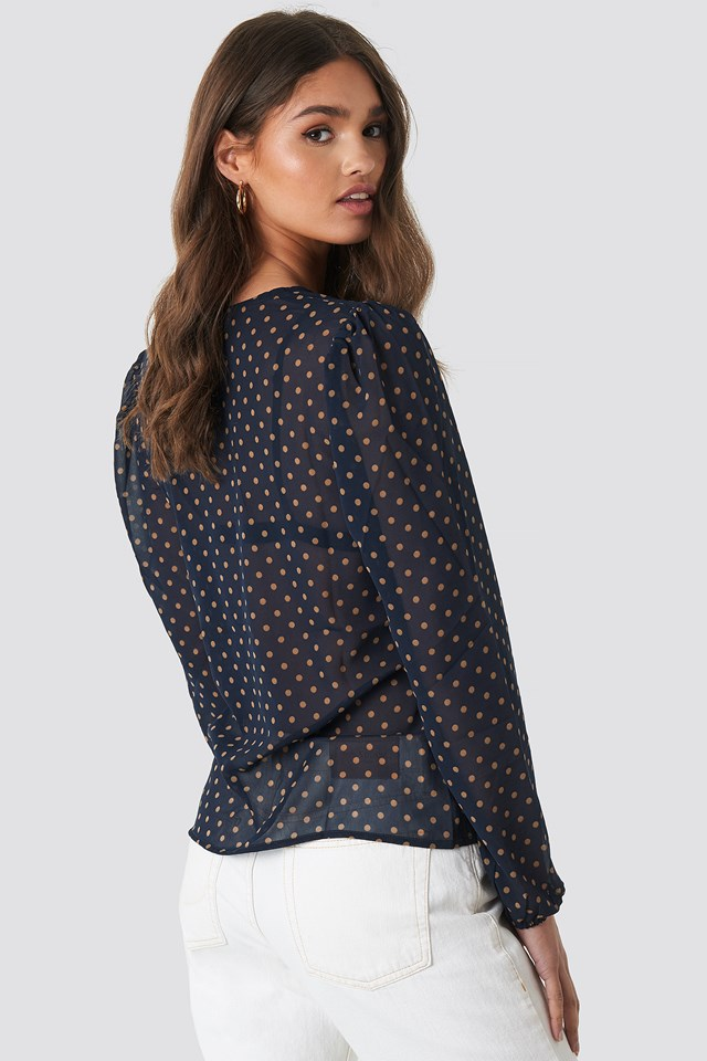 Gathered Front LS Blouse Blue/Beige Dots