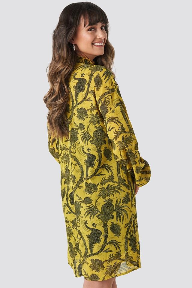 Gathered Front Print Dress Yellow
